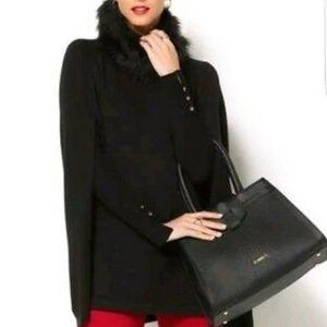 IMAN Luxe Touch Blk Cashmere Cape Faux Fur Collar